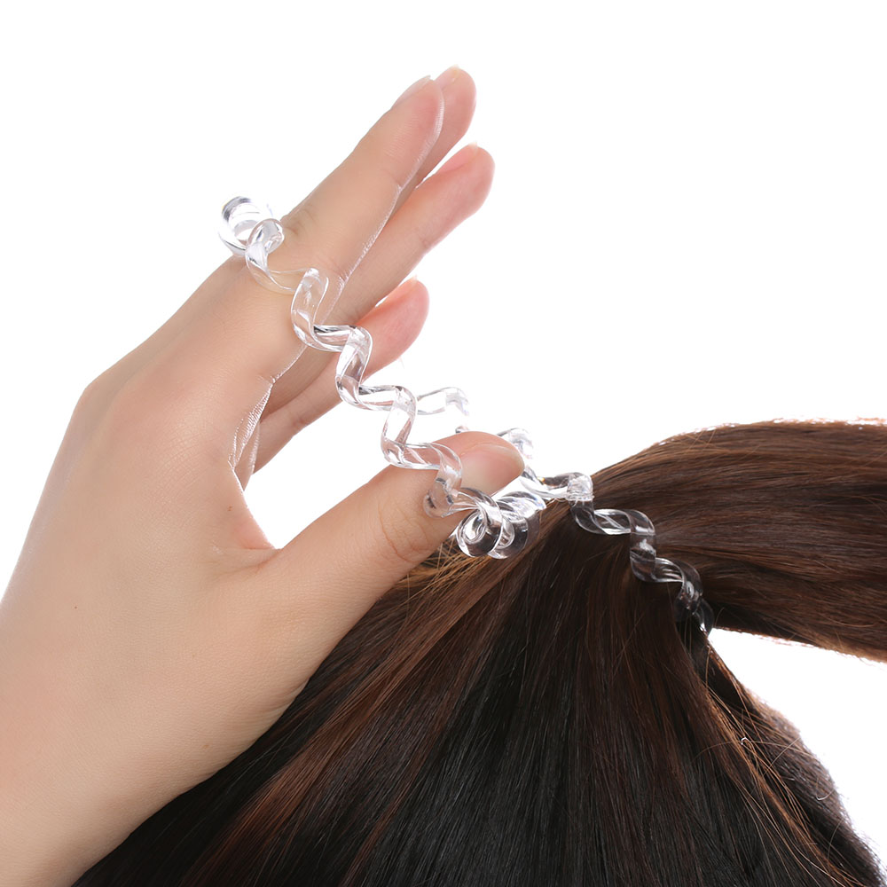 3pc Women Lady Girl Clear Plastic Elastic Rubber Hairband
