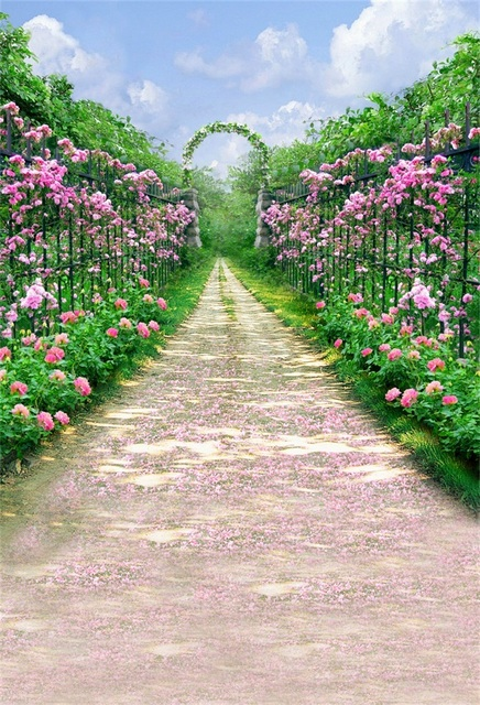 Laeacco Dreamy Flower Garden Pathway Arch Gate Digital Printed Photography  Backdrops Vinyl Photo Backgrounds For Photo