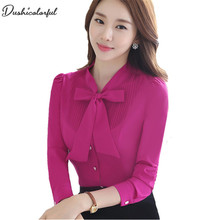 Dushicolorful Spring New  women tops and blouses formal professional work wear plus size modis bluewhitepurpleblouse цена и фото
