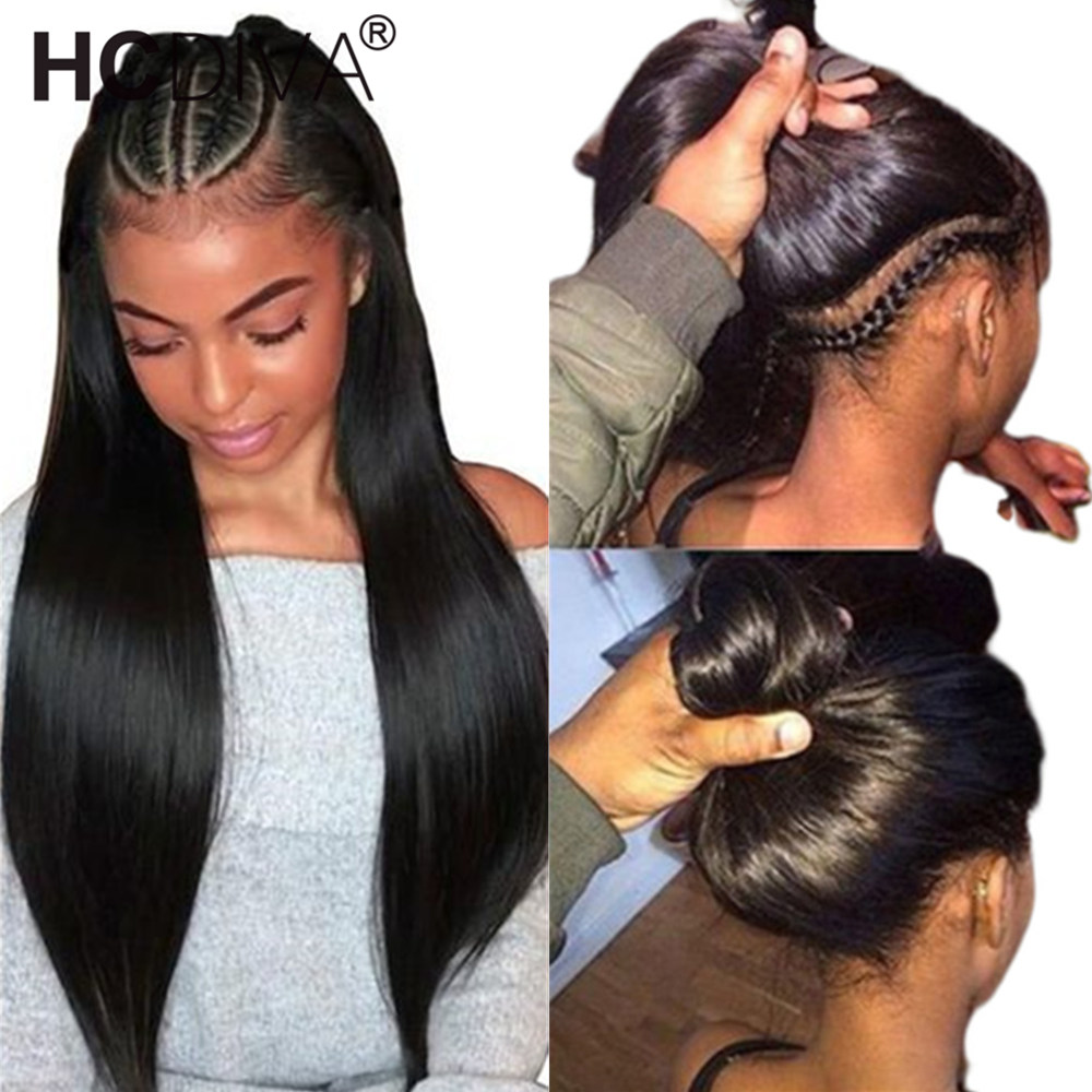 360 Lace Frontal Wig Pre Plucked With Baby Hair Brazilian Straight Lace Front Human Hair Wig