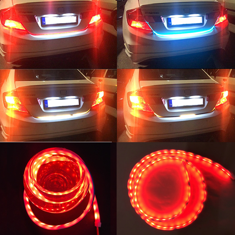 Ice Blue White Red Yellow 4-Color Dynamic Stream Trunk Strip Flow Lights For Reverse Brake Side Turn Signal DRL Lights Bar d24 varta blue dynamic 60 ач москва