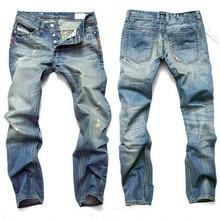2017Blue Jeans Men Straight Denim Jeans Trousers Plus Size 28-42 High Quality Cotton Logo Brand orange button Mens Jeans