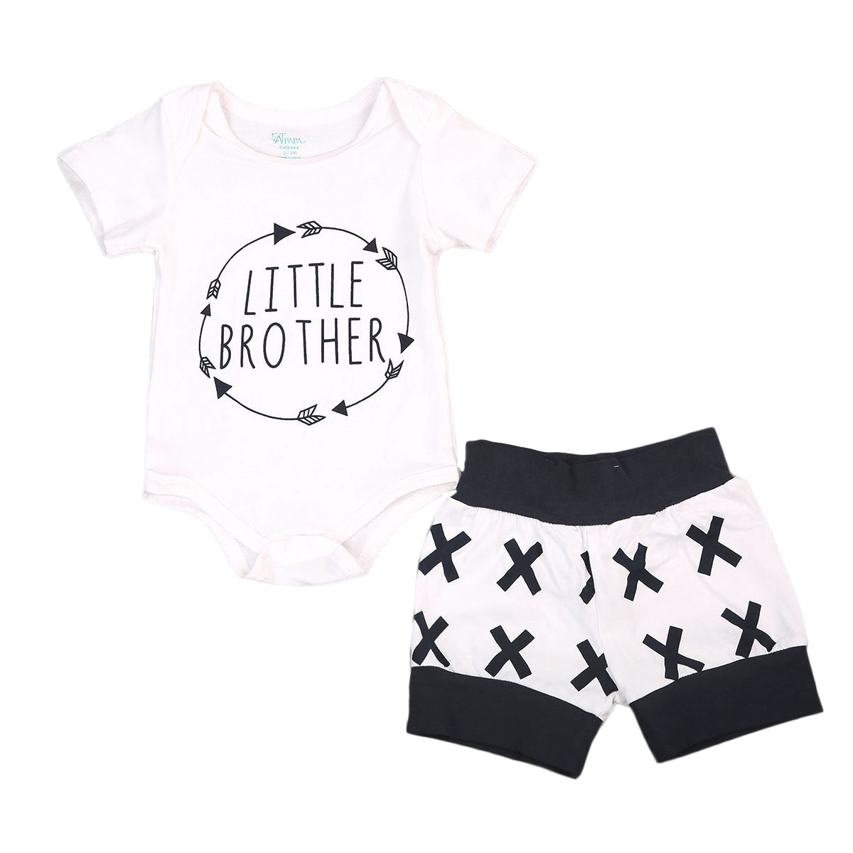 Pudcoco 2Pcs Summer Toddler Infant Baby Boys Cotton Short Sleeve O-Neck Bodysuit Shorts Pants Outfits Set 0-24 Months Helen115
