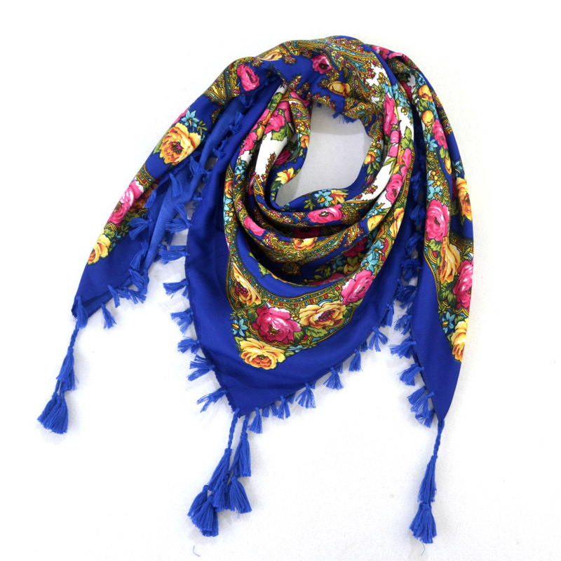 90*90cm New Fashion women Ladies Square Scarf print flower Scarves Russian Ethnic Style Women Wraps kerchief tassel Scarf shawls