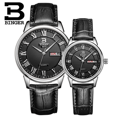 Switzerland Binger Brand Luxury Lover watches leisure Dress Quartz Watch Business leather watch Male Clock Relogio Masculino  binger brand luxury famous men watches fashion leisure dress automatic watch business leather watch male clock relogio masculino