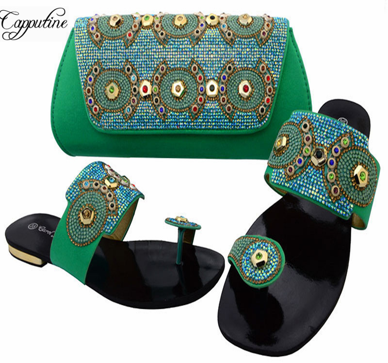 Capputine Green Fashion Italian Shoes And Bag Set African Women Low Heels Slipper Shoes And Bag Set For Party Dress BCH-37 capputine new fashion shoes and bag set for party usage new italian high heels ladies teal color shoes and bag set bch 40