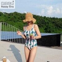 Soleggiato eva Costumi Da Bagno di grandi dimensioni albero di Cocco stampa vestito di nuoto per le donne one piecehigh cut costume da bagno delle donne beach bathing suit