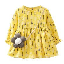 цены на Kids Girls Long Sleeve Dress Cute Stars Flower Printed Dress 2018 New Arrival Spring Baby Girl Dresses With Bag Princess Vestido  в интернет-магазинах