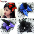 1 pcs Lady Mini Feather Rose Top Hat Cap Lace Fascinator Hair Clip Costume Hair Accessories 4 Colors for your choice