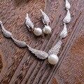 Ala de lujo AAA circón aretes de perlas clips collares sistemas de la joyería del banquete de boda nupcial accesorios para novias t568