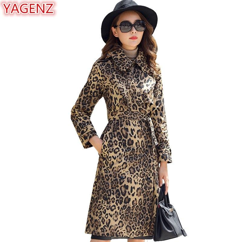 YAGENZ Casual style Plus size Long Coat Women   Trench   Coat Leopard Print Windbreaker Coat Spring Autumn Women Tops Long sleeve527
