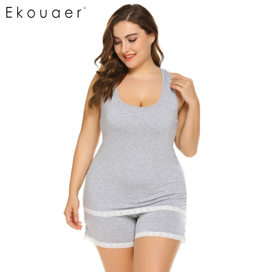 Ekouaer Plus Size Sleepwear Women Pajamas Set Tank Top and Shorts Lounge  Wear Female Lingerie ...