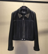 New 2018 autumn women rivets Biker jackets Chic sheepskin leather coat D704