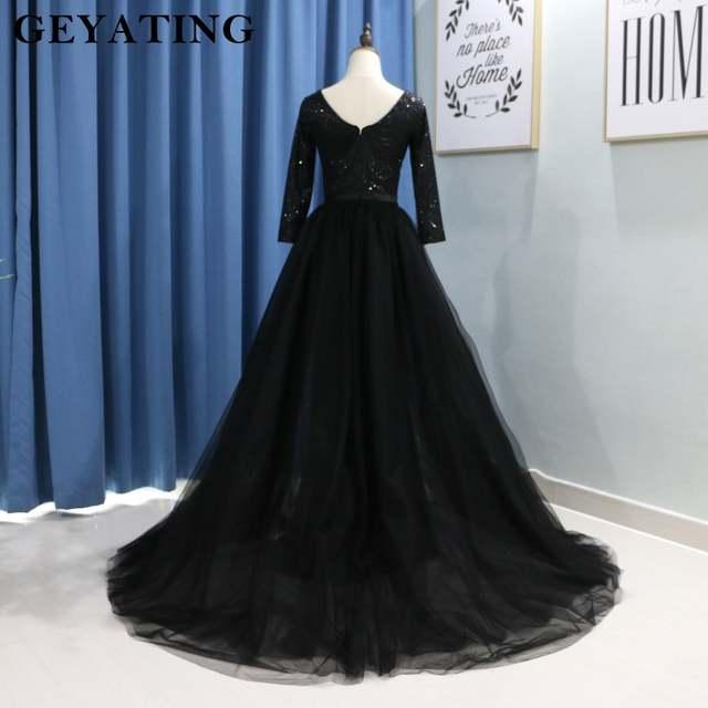 Glitter Black Sequin Long Sleeves Evening Dress with Detachable Skirt V-neck  Elegant Arabic Muslim fc157e71eb2a