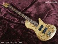 Custom Shop. one-piece set pescoço através do corpo 4 cordas borboleta Fodera Guitarra baixo. tampa de madeira do burl suporte de guitarra baixo Personalizar