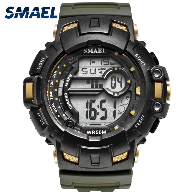 LED Digital Wrsitwatches SMAEL Army Green Clocks Men S Shock Resistant Military Watches Band 1532A Sport Wtaches 50M Waterproof smael 1708b