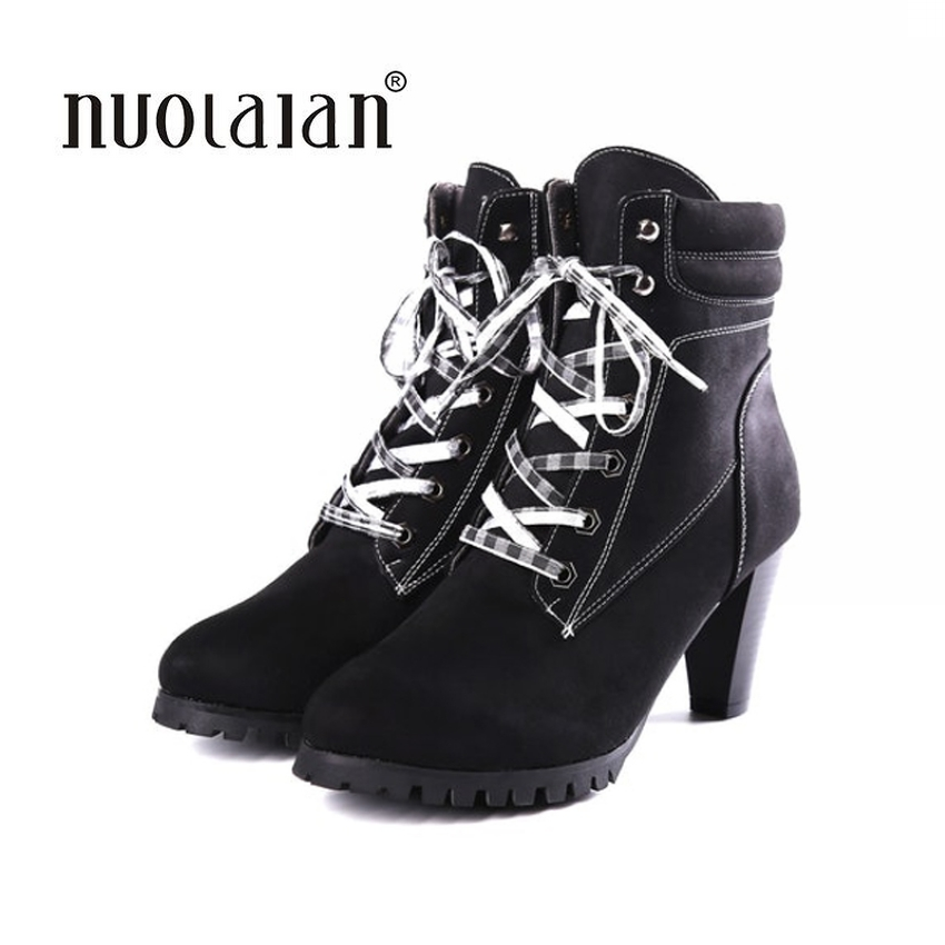 Brand Women Boots Female Winter Shoes Woman Fur Warm Snow Boots Fashion Square High Heels Ankle Boots Black Boots 8CM