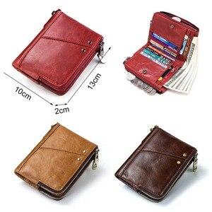 Image 5 - KAVIS Genuine Leather Women Wallet Female Red Rfid Coin Purse Small Walet Portomonee PORTFOLIO Money Bag Lady Mini Card Holder
