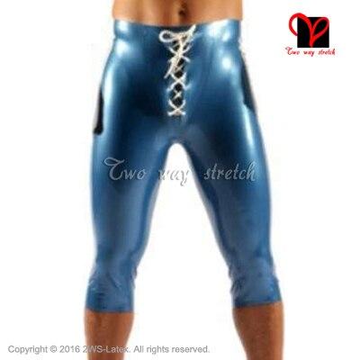 Синий с белыми полосами латекс Long Leg Boxer Шорты завязки спереди резиновая бурлящие штаны KZ-147 ...
