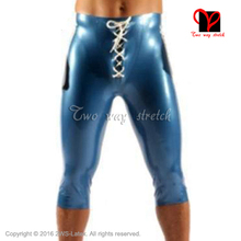 Blue With White Stripes Latex Long Leg Boxer shorts Lacing Front Rubber Hotpants KZ-147