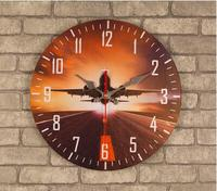021198 14 Inch Wooden Wall Clock Modern Design Vintage Rustic Shabby Chic Home Plane Decoration Art