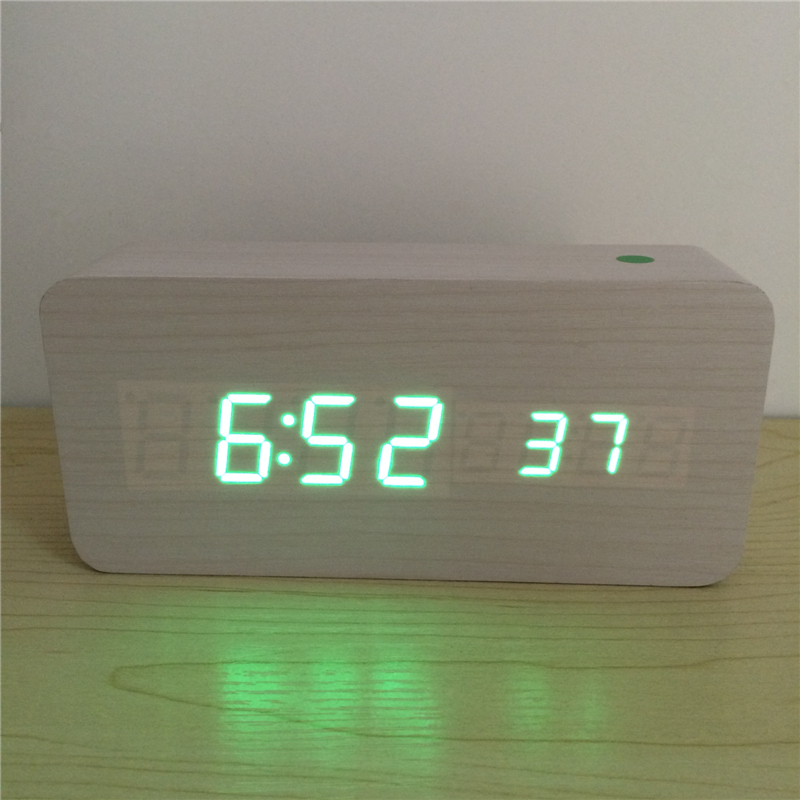 Acoustic control Calendar Alarm Thermometer Wooden clock LED display digital desk clocks with seconds xyzTime-6035-White-Clock