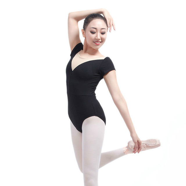 2314f6fb0af1f9 Adult Gymnastics Leotard Black Mesh Dance Leotards Short Cap Sleeve Lace  Ballet Leotards For Women Dance Wear Justaucorps Adulte