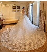 تصميم جديد فاخر فساتين زفاف ذيل طويل الكرة ثوب v الرقبة الطابق طول مثير انظر حتى العودة أثواب الزفاف الزفاف فساتين