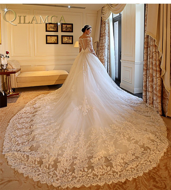 New Design Luxury Wedding Dresses Long Tail Ball Gown V Neck Floor Length Y See Through