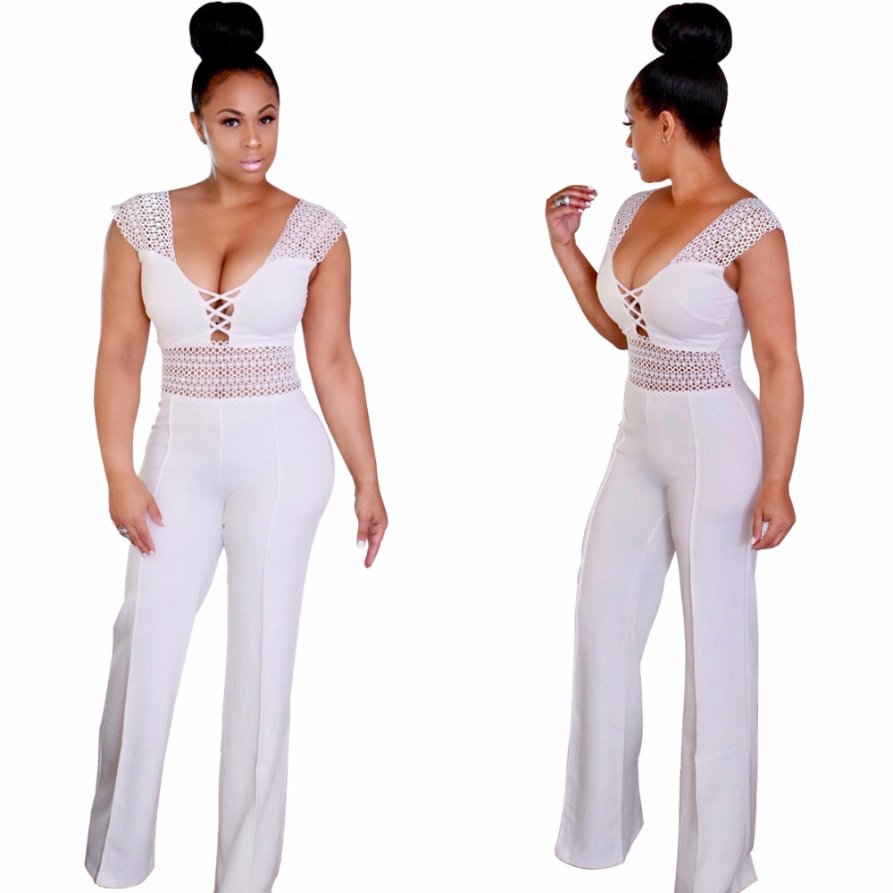 Adogirl Hollow Out High Waist Sleeveless Womens Loose Office Lady Formal Jumpsuits and Playsuits Black Fashion Overalls Rompers
