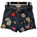 2016 Франция США Англия Вышивка Ракетницы Отверстия Лоскутная Цветные Короткие Джинсы брюки Личности Женские Молодежные Брюки Панк брюки