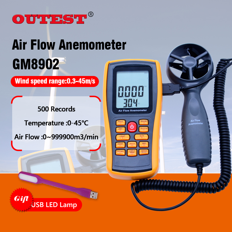 OUTEST 0-45M/S Digital Anemometer Wind Speed Meter Air Volume Ambient Temperature Tester With USB Interface GM8902 digital indoor air quality carbon dioxide meter temperature rh humidity twa stel display 99 points made in taiwan co2 monitor