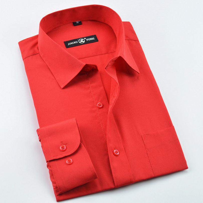 Effen Rood Overhemd Heren.Heren Overhemden In Katoen Effen Zwart Wit Blauw Grijs Rood Slim Fit
