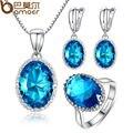 Atacado Mais Recente Moda Na Moda Azul Colar Brincos Conjunto de Jóias Anel de Pedras Preciosas de Imitação Platinadas Elegante ZH048