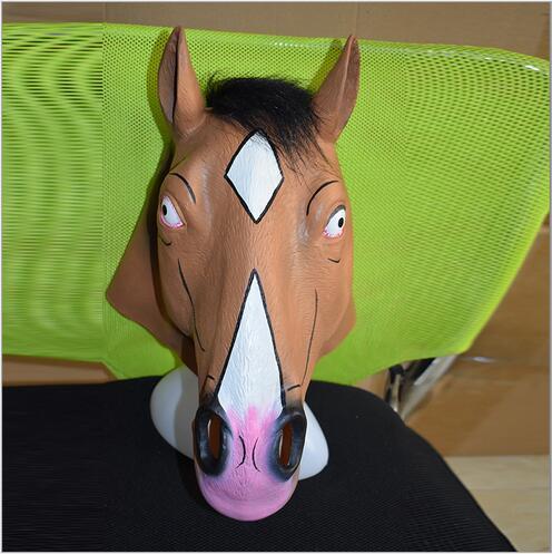 Top Grade Silicone Halloween Horse Mask Party Masquerade Rubber Latex Fun Masks Creepy Brown Horse Head Mask Cosplay Face Mask