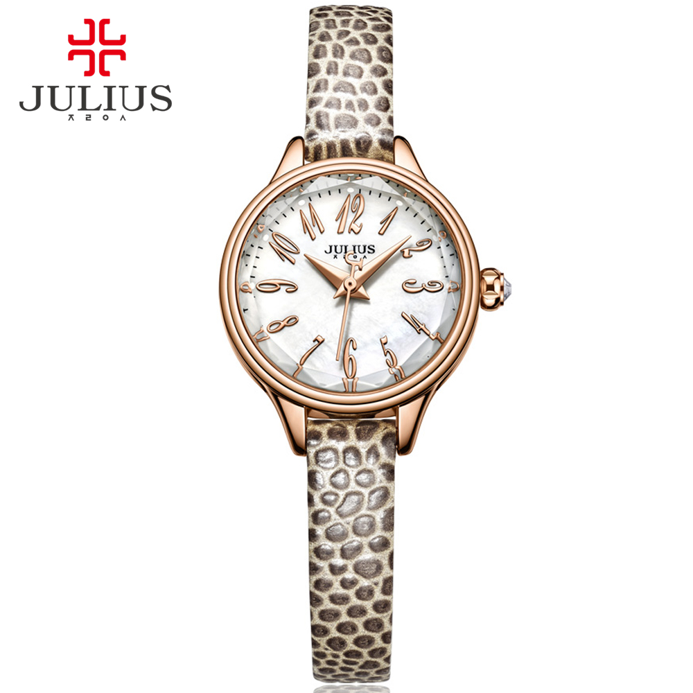 JULIUS 2017 Winter New Crocodile Genuine Leather Strap Rose Gold Watches Women Lady Fashion Dress Wrist