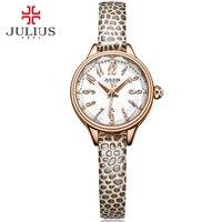 JULIUS 2016 Winter New Crocodile Genuine Leather Strap Rose Gold Watches Women Lady Fashion Dress Wrist