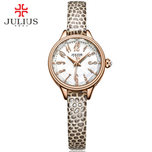 JULIUS 2018 Winter New Crocodile Genuine Leather Strap Rose Gold Watches Women Lady Fashion Dress Wrist