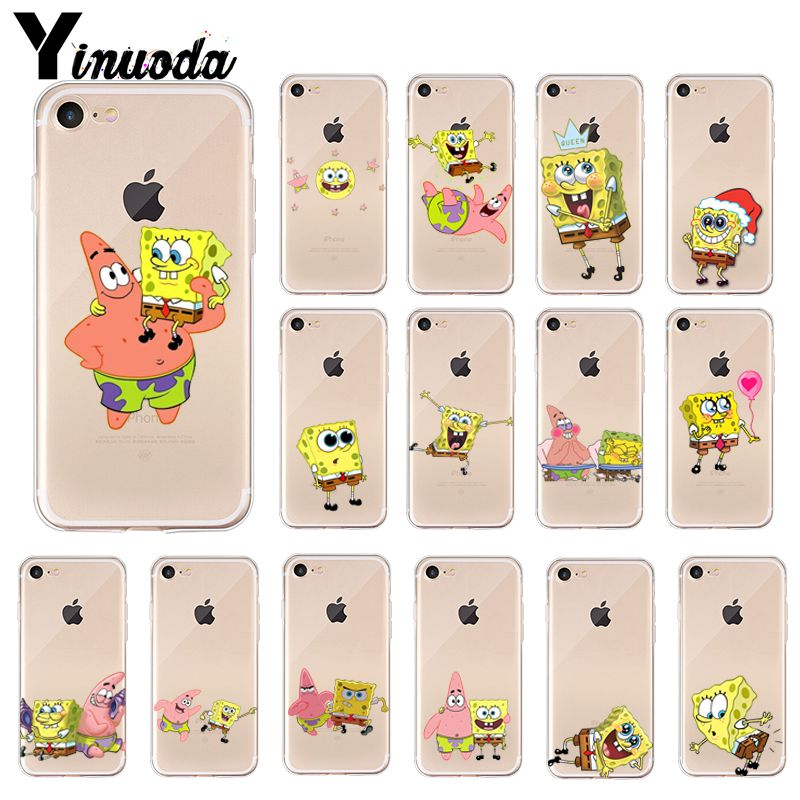 Yinuoda SpongeBob Newly Arrived Transparent Cell Phone Case For Apple IPhone 8 7 6 6S Plus X XS MAX 5 5S SE XR Cover
