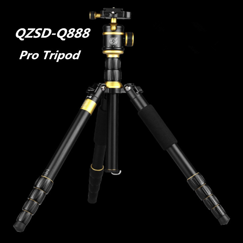 2015 Hot QZSD-Q888  Professional Tripod For SLR Camera / Portable Traveling Tripod + Head / Monopod Changeable / Free shipping free shipping qzsd q472 slr camera tripod monopod