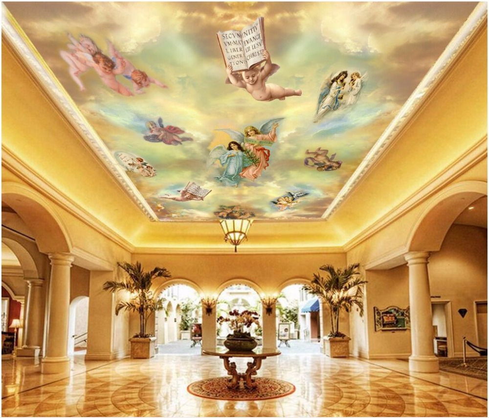 Custom photo 3d ceiling murals wallpaper European oil painting ...
