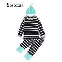 Autumn Winter Baby Girls Clothing Sets 2017 New Brand Stripe T Shirt Pants Hats 3pcs Little