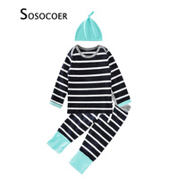 Autumn Winter Baby Girls Clothing Sets 2017 New Brand Stripe T Shirt Pants Hats 3pcs Little