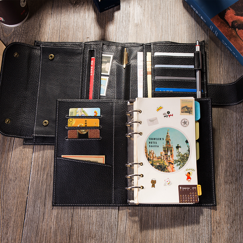 Yiwi Business 100% Cow Genuine leather Loose Leaf Binder Hobo Planner Multifunctional A6 Personal Notebook With Cash Pokect