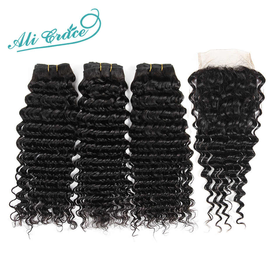 Ali Grace Hair Brazilian Deep Wave 3 Bundles with 4*4 Free Middle Part Lace Closure 100% Remy Human Hair Natural Color