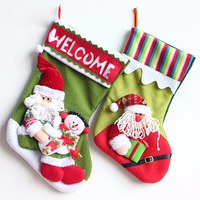Applique Style Christmas Santa Claus Snowman Stockings Xmas Tree Hanging Stockings Gift