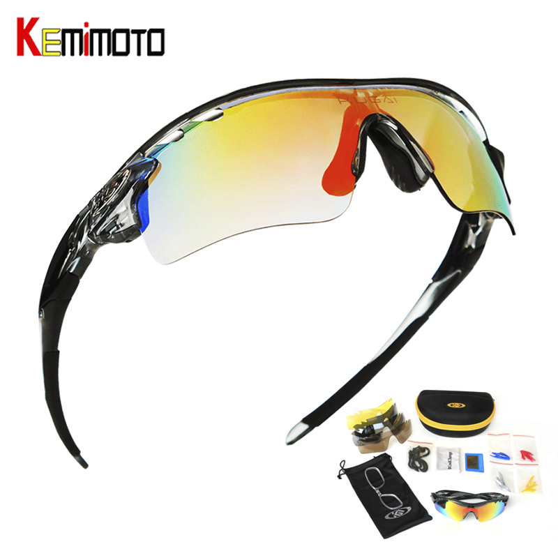 Kemimoto Cycling Glasses Eyewear Goggles Bike Polarized Sports Women Outdoor for 5-Lens/summer
