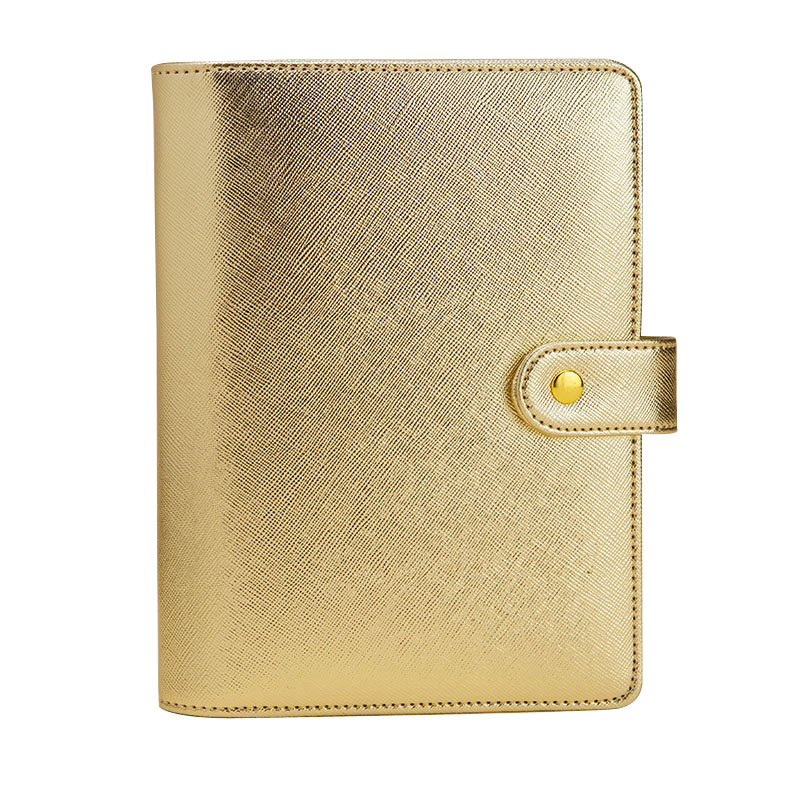 2016-2017 New Fashion Notebook Gift 6 hole Loose-Leaf Diary A5&A6 Spiral Planner Silver & Gold Cover Organizer Korean Stationery  -  NOTEBOOKS store