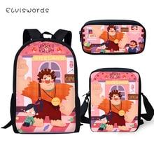 ELVISWORDS Cartoon Children School Backpack Wreck-It Ralph Pattern Kids Travel Toddler Boys Girls 3PCs Book Bag