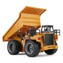 Huina 322 1:18 seis way caminhão basculante remoto criança carregamento de controle remoto carro caminhão basculante controle remoto brinquedo rc carro